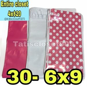 4x$20 || 30 poly mailers pink white polka dot 6x9